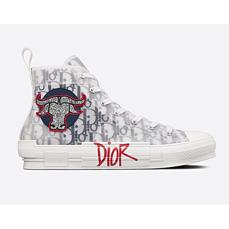 Black and White Dior Oblique Canvas with DIOR AND SHAWN Ox Head Embroidery Patch for women #450229 replica