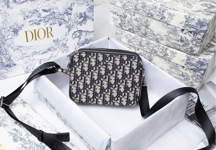 SAFARI MESSENGER BAG Beige and Black Dior Oblique Jacquard AAA+ 1ESPO206YKY_H27E replica